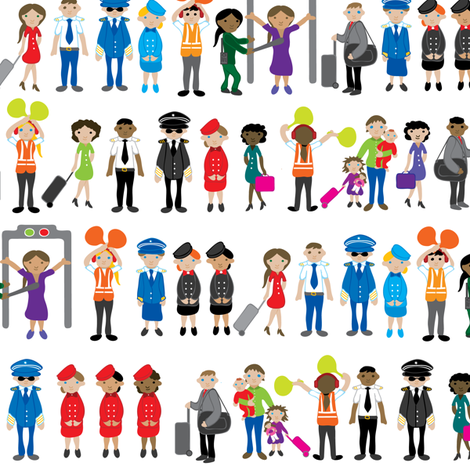 People at the airport fabric by ebygomm on Spoonflower - custom fabric