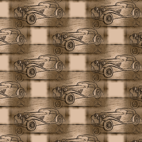 old_mercedes_beige_woodcarving_looklike fabric by vinkeli on Spoonflower - custom fabric