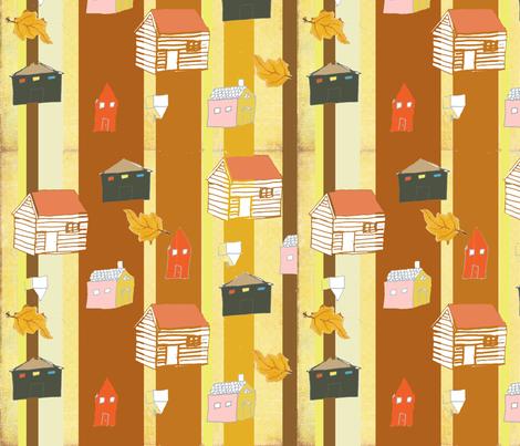 autumn_houses fabric by littleredbirdie on Spoonflower - custom fabric