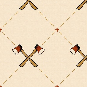 Vintage-style Woodcut Axes