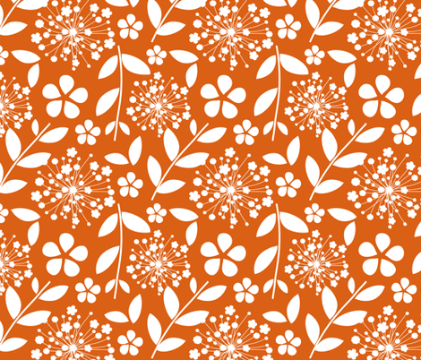 dandelions_on_orange fabric by emilyb123 on Spoonflower - custom fabric