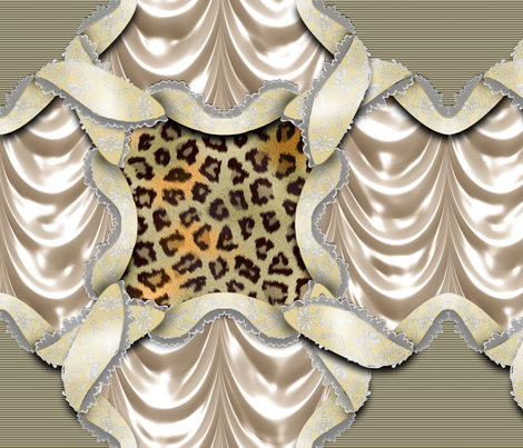 Leopards'n'Lace - Medaillon - Yellow fabric by bonnie_phantasm on Spoonflower - custom fabric