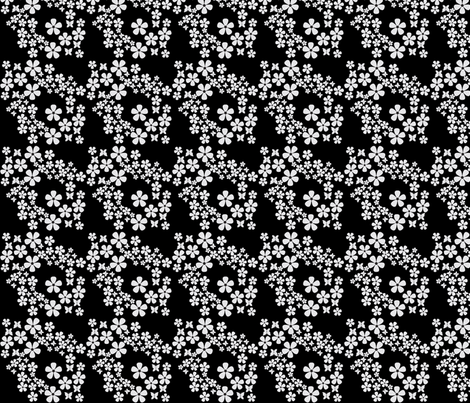 swiss_dots_floral-butterfly- black, white fabric by anino on Spoonflower - custom fabric
