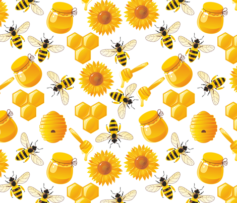 bees and honey fabric by anastasiia-ku on Spoonflower - custom fabric