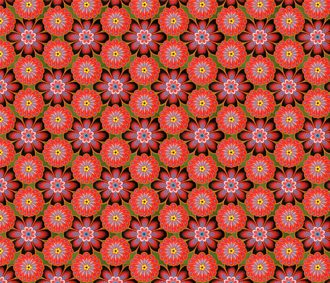 red tole painting flowers fabric by unseen_gallery_fabrics on Spoonflower - custom fabric