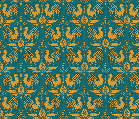 Arts & Crafts roosters fabric by unseen_gallery_fabrics on Spoonflower - custom fabric