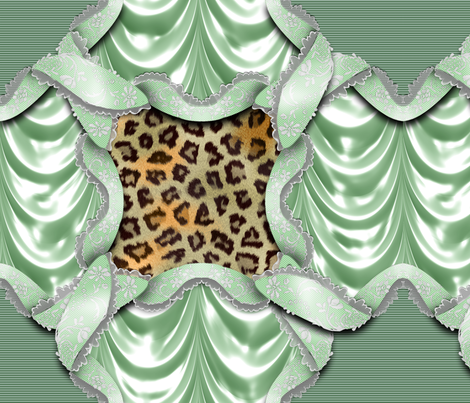 Leopards'n'Lace - Medaillon - Green fabric by bonnie_phantasm on Spoonflower - custom fabric