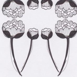 Sketchy stylized flowers