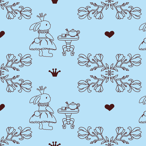 Bunny_princess_light blue_fabric-ch fabric by sharoncs on Spoonflower - custom fabric