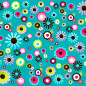 Pretty Flowers in Teal