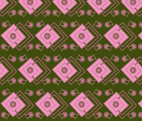geometric_intricate_green,pink, fuschia fabric by anino on Spoonflower - custom fabric