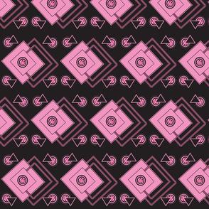 geometric_intricate_ black,pink, fuschia