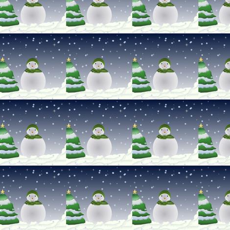 snowman  christmas / holiday scenery fabric by anino on Spoonflower - custom fabric
