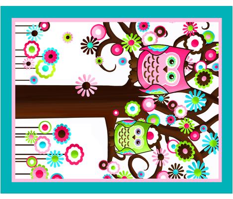 Pretty Owl Baby Blanket Panel fabric by toadandlily on Spoonflower - custom fabric