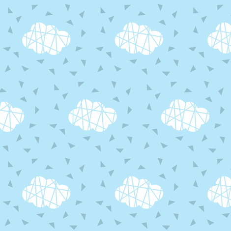 white clouds on blue with lines fabric by pencilmein on Spoonflower - custom fabric