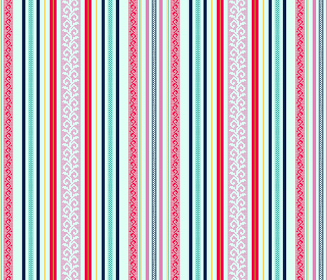 folk stripe - fuchsia fabric by cheyanne_sammons on Spoonflower - custom fabric
