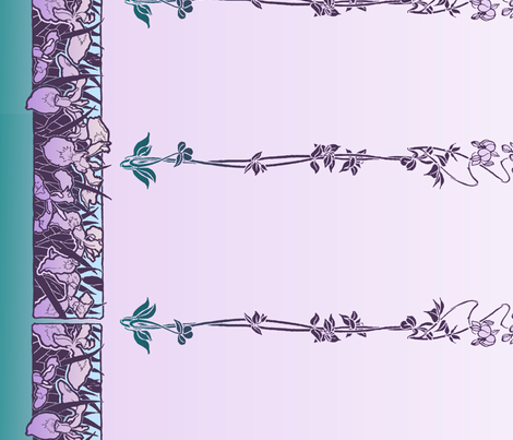 Art Nouveau Irises border print fabric by unseen_gallery_fabrics on Spoonflower - custom fabric