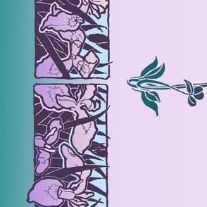 Art Nouveau Irises border print