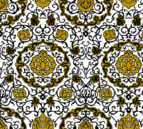 Eleonora Di Toledo - Gold Stylized fabric by bonnie_phantasm on Spoonflower - custom fabric