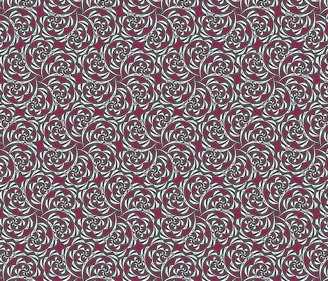 Fiddlehead Swirl  -red fabric by fireflower on Spoonflower - custom fabric