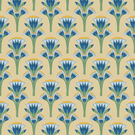 Blue lotus fabric by kirpa on Spoonflower - custom fabric