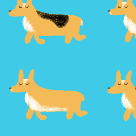 The Corgi Trot fabric by cyans on Spoonflower - custom fabric