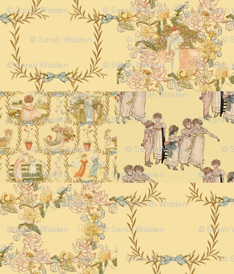 Kate Greenaway  ~ Language of the Flowers Cheater Quilt