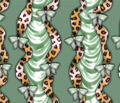 Leopards'n'Lace - Bows - Green fabric by bonnie_phantasm on Spoonflower - custom fabric
