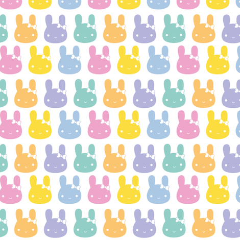 Pastel Rainbow Bunny Bows fabric by marcelinesmith on Spoonflower - custom fabric