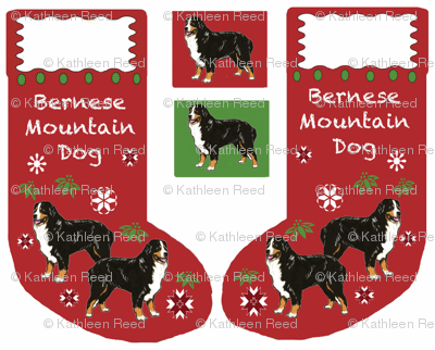 Bernese Mountain dog Cut and sew Christmas Stocing