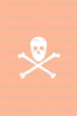 White Skull and Crossbones on Coral