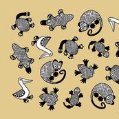 Oz Animals tea towel