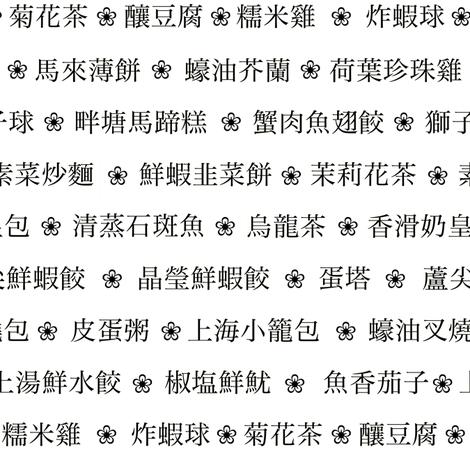 Chinese dim sum menu (B&W) fabric by weavingmajor on Spoonflower - custom fabric