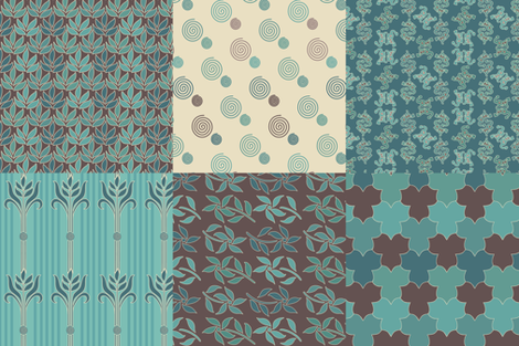 Decorator Collection Fabric1 - 36x54 - 18insqs - bluegreen & brown fabric by mina on Spoonflower - custom fabric