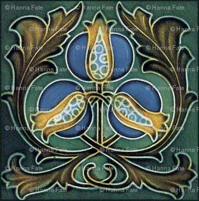 Art Nouveau tile, rose hips