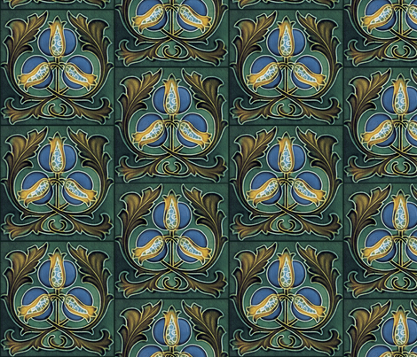 Art Nouveau tile, rose hips fabric by unseen_gallery_fabrics on Spoonflower - custom fabric