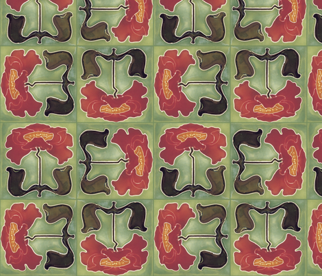 poppy tiles fabric by unseen_gallery_fabrics on Spoonflower - custom fabric