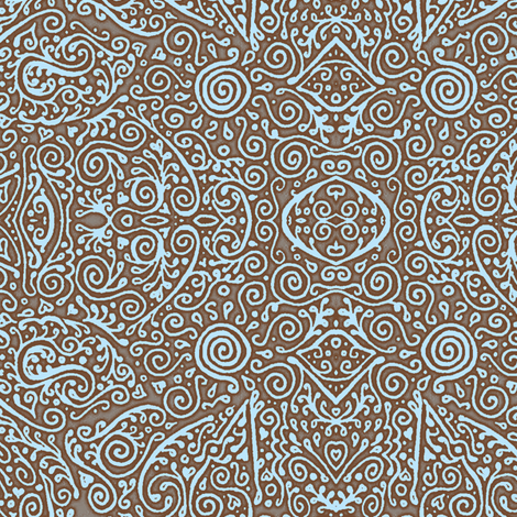 bridal mendhi in sky blue and brown fabric by weavingmajor on Spoonflower - custom fabric