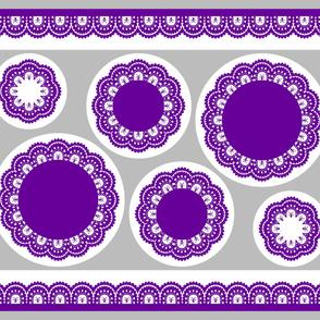 cut sew Skull and Crossbones Lace Ruffles - Purple on White