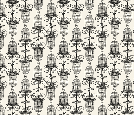 birdcages_on_cream fabric by glindabunny on Spoonflower - custom fabric