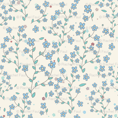forget-me-nots on cream