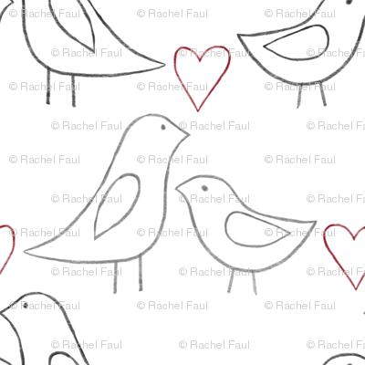 lovebird outlines on white