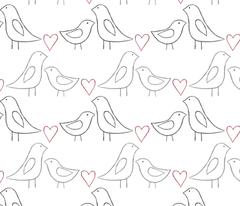 lovebird outlines on white fabric by glindabunny on Spoonflower - custom fabric