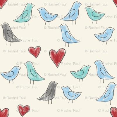 drawn lovebirds on cream