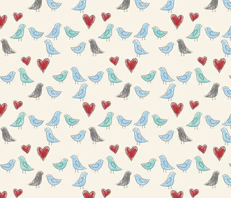 drawn lovebirds on cream fabric by glindabunny on Spoonflower - custom fabric