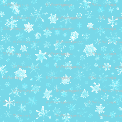 photographic snowflakes on pale cyan (medium snowflakes)