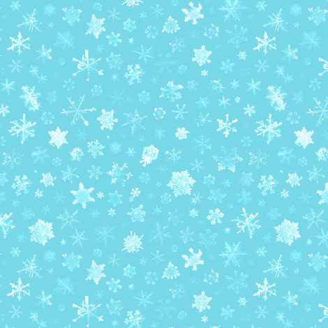 photographic snowflakes on pale cyan (medium snowflakes) fabric by weavingmajor on Spoonflower - custom fabric