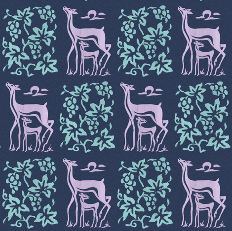 Wooden tjap grapes and deer - seafoam & lilac on textured dark blue fabric by mina on Spoonflower - custom fabric