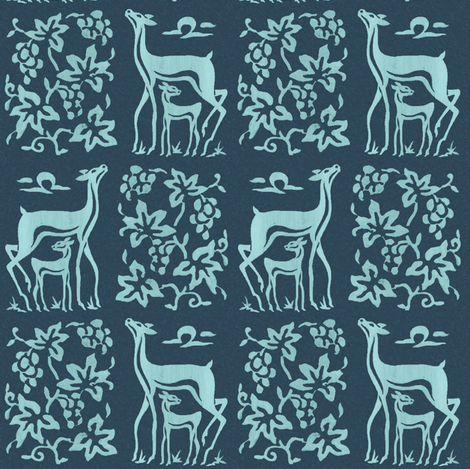 Wooden tjap grapes and deer - seafoam on dark blue fabric by mina on Spoonflower - custom fabric