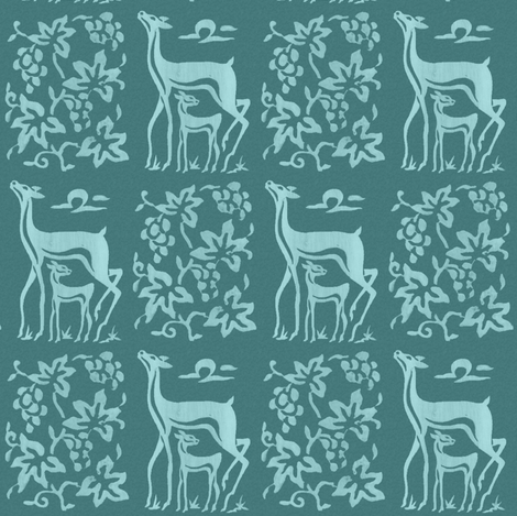 Wooden tjap grapes and deer - seafoam on bluegreen fabric by mina on Spoonflower - custom fabric